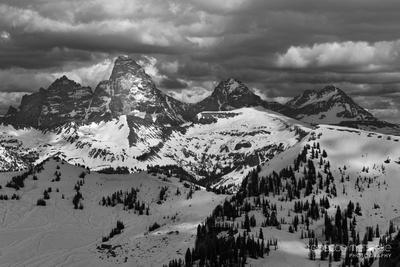 Summer Snow Teton Peaks from Alta Wyoming